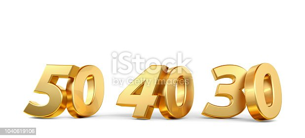 istock 50 40 30 golden bold numbers 3d-illustration 1040619106