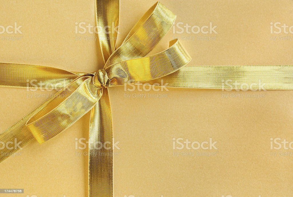 Golden Bow and Ribbon royalty-free stock photo