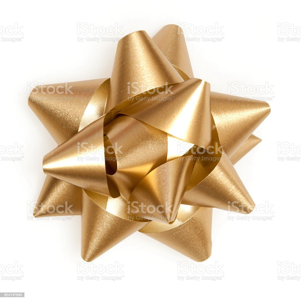 golden bow from top on a white background stock photo