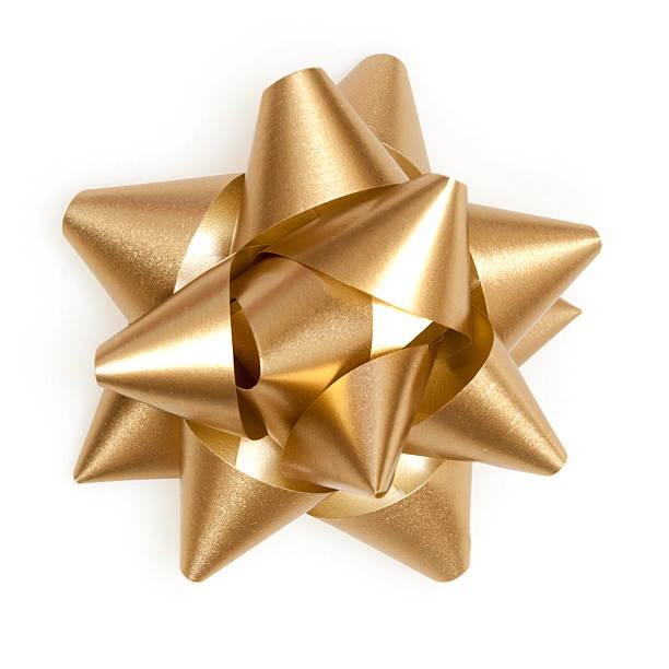 golden bow from top on a white background - geschenkschleife stock-fotos und bilder