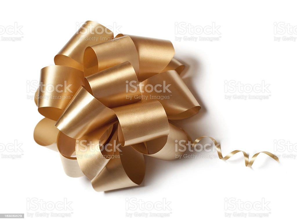 Golden bow isolated stock photo