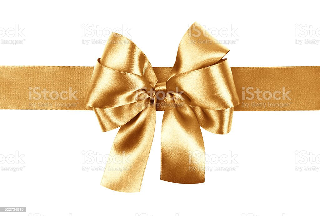 golden bow photo made from silk stock photo