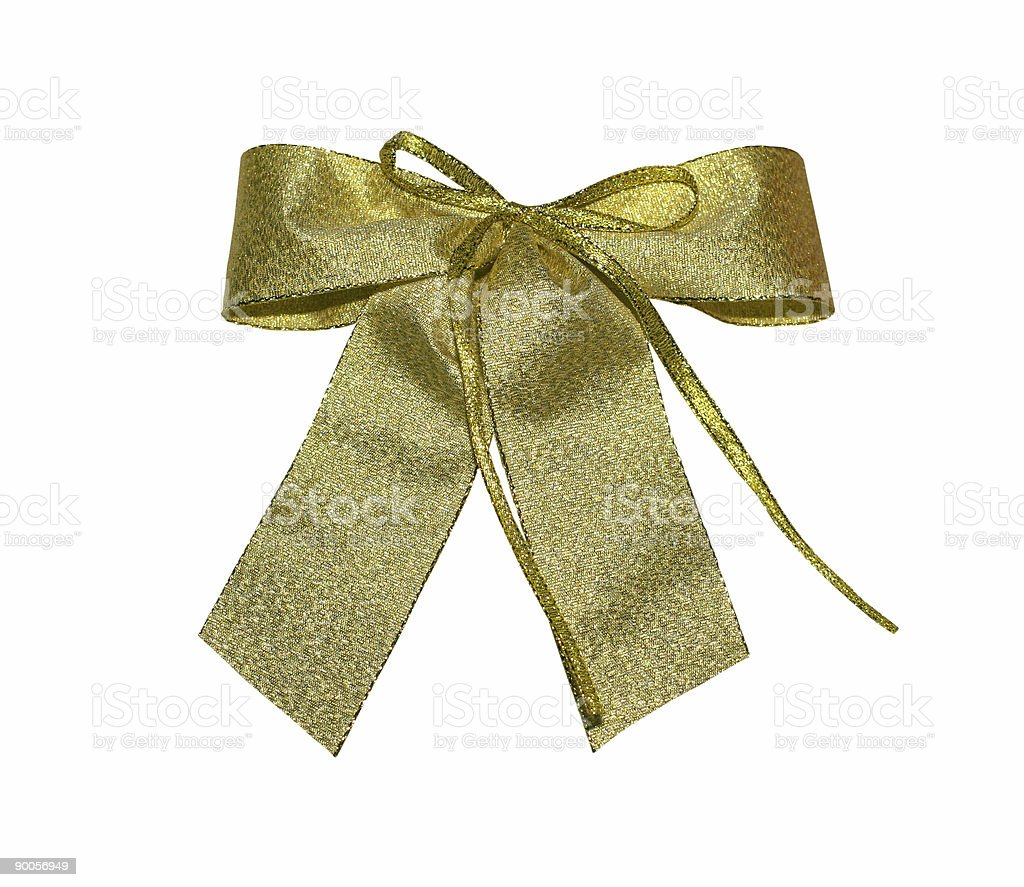 golden bow with path royalty-free stock photo