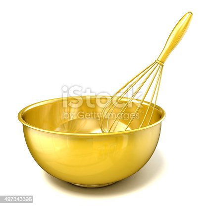 istock Golden bowl with a wire whisk. 3D rendering 497343396