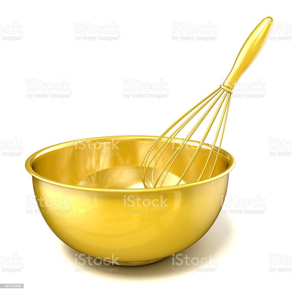 Golden tazón con un batidor. 3 D imagen - foto de stock