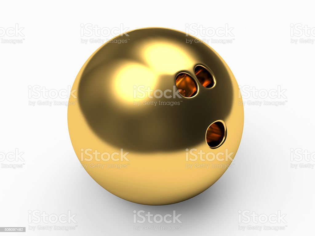 Golden bowling ball stock photo