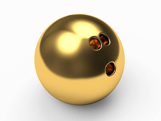 Golden bowling ball stock photo