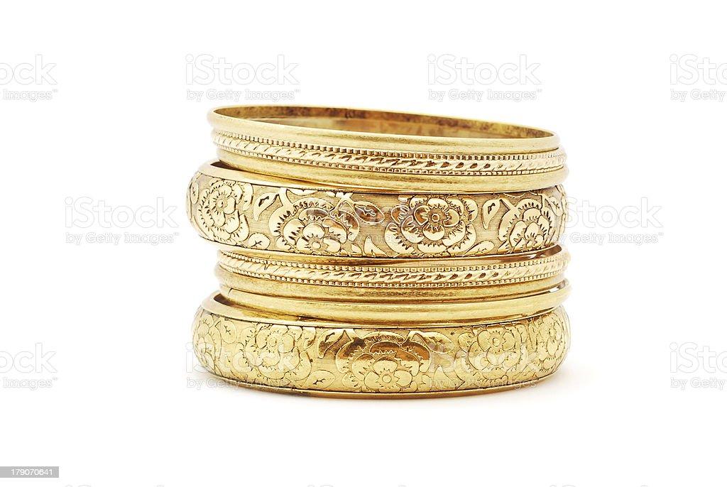 golden bracelets stock photo