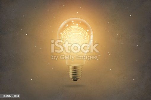 istock golden brain glowing inside of light bulb on paper texture background 695372164