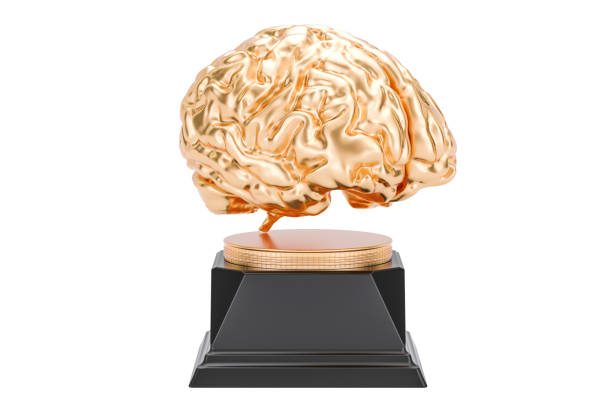 golden brain, gold award. 3d rendering isolated on white background - genius stock photos and pictures