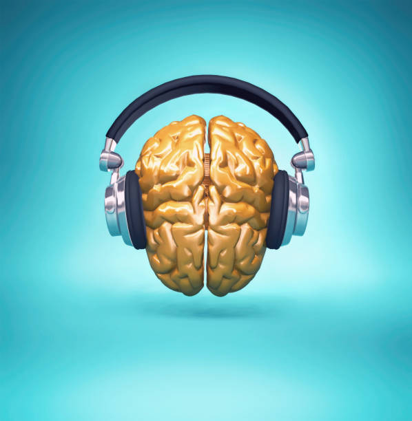 Golden brain with a headset. 3d render illustration stock photo