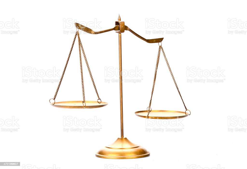 Golden brass scales of justice. stock photo