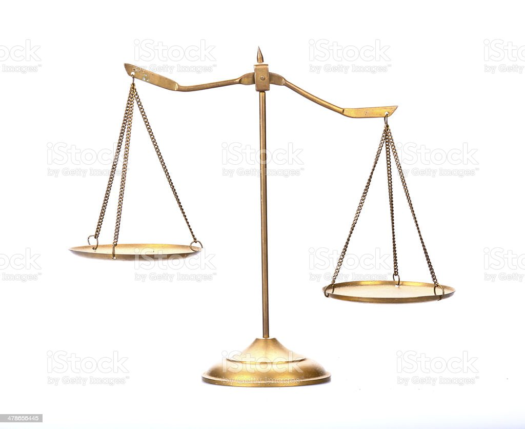 golden brass scales of justice stock photo