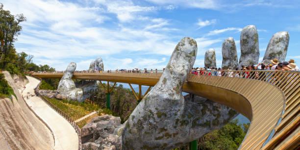Golden Bridge in Ba Na Hills stock photo