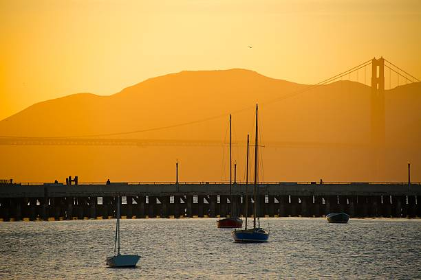 Golden Bridge in Sunset Golden Bridge in sunset san francisco bay stock pictures, royalty-free photos & images