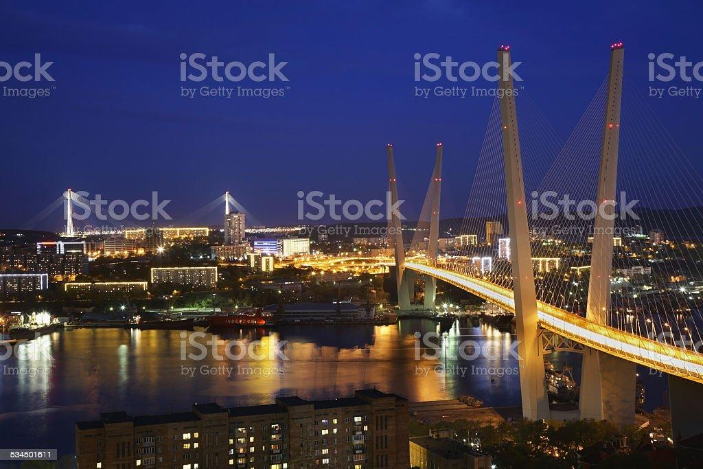 Golden Bridge in Vladivostok. Russia stock photo