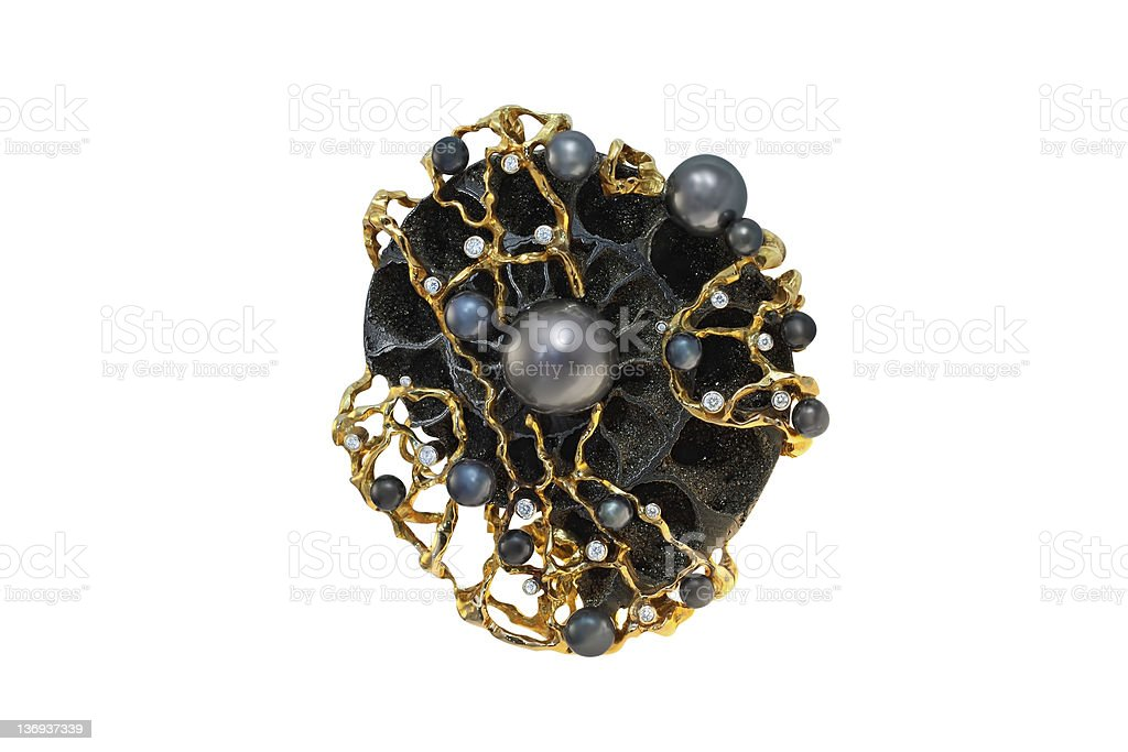 golden brooch with pearls and diamonds stock photo