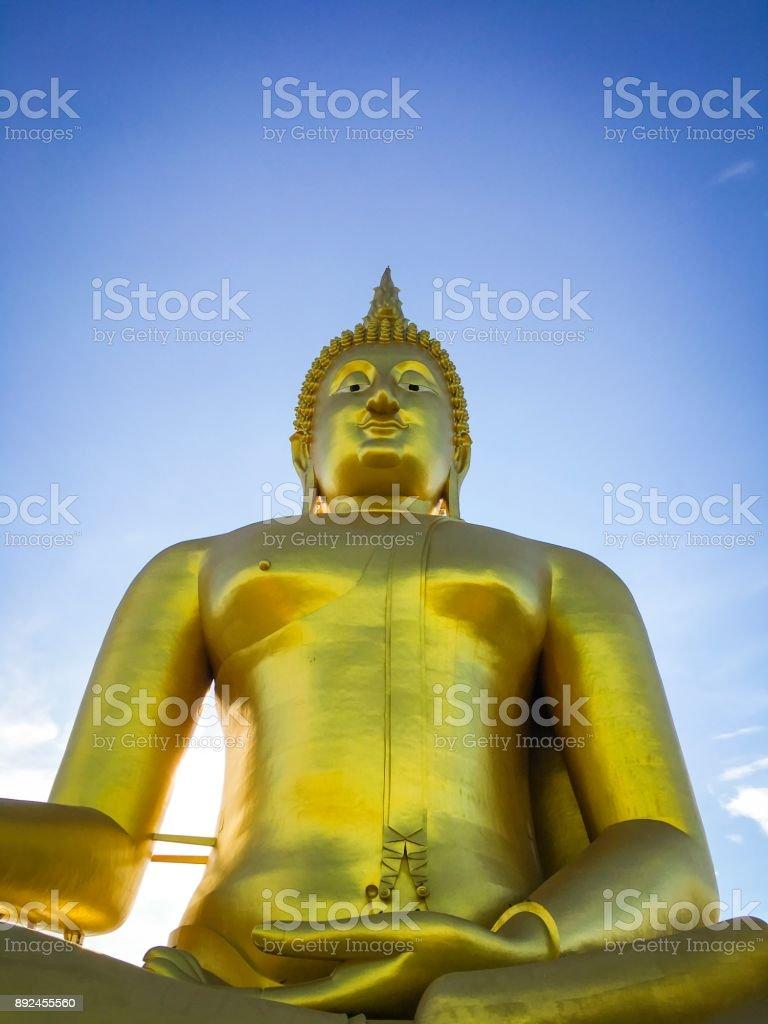 Golden Buddha at Wat Muang, Thailand royalty-free stock photo