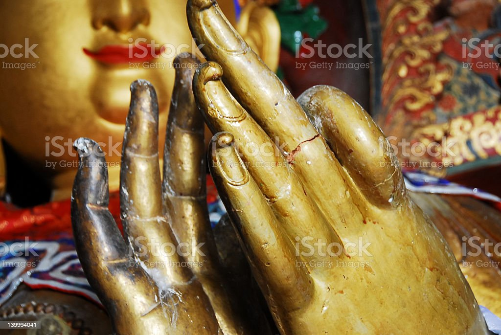 golden Buddha hands royalty-free stock photo
