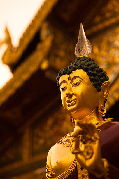 Golden Buddha in Chiang Rai, Thailand stock photo