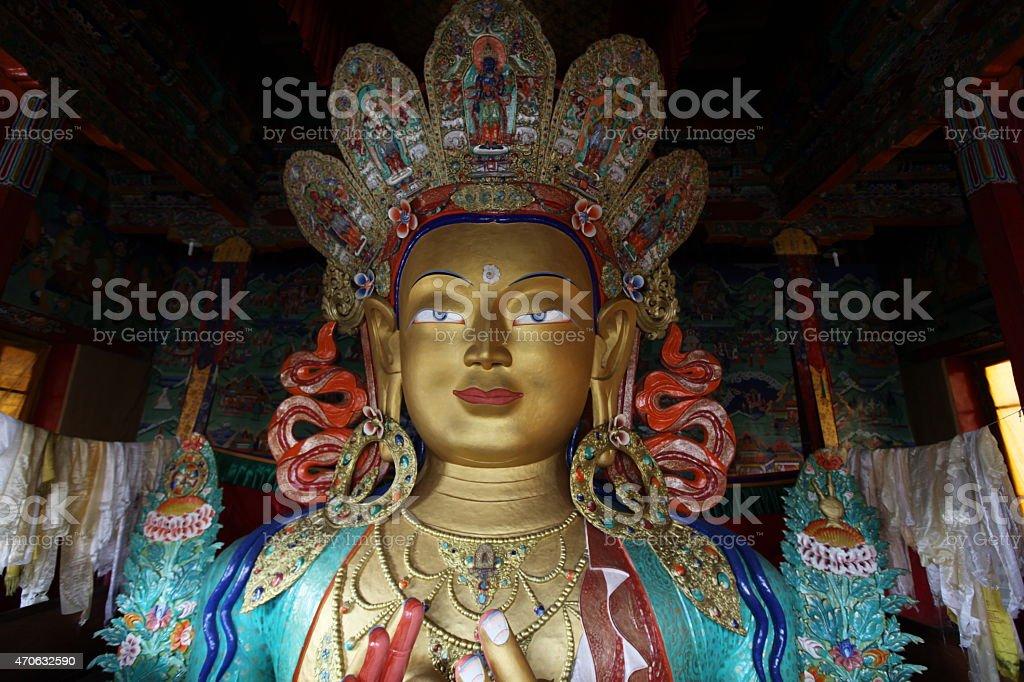 Golden Buddha in Tiksey monastery stock photo