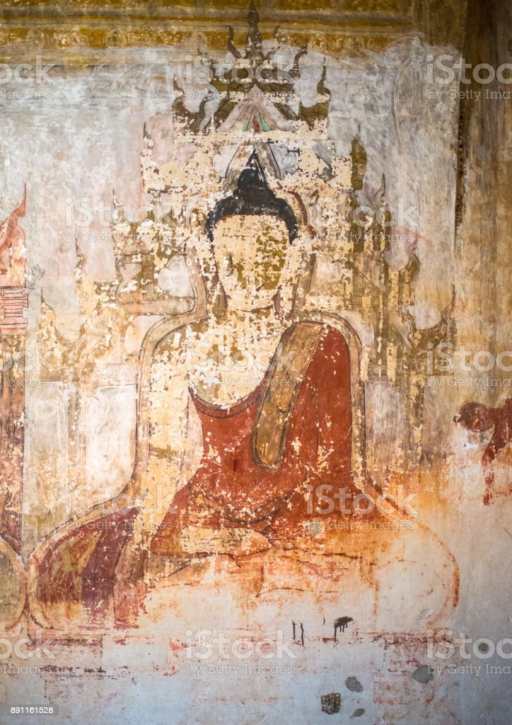 Golden Buddha painting in a Burmese mural inside the Sulamani Temple stock photo