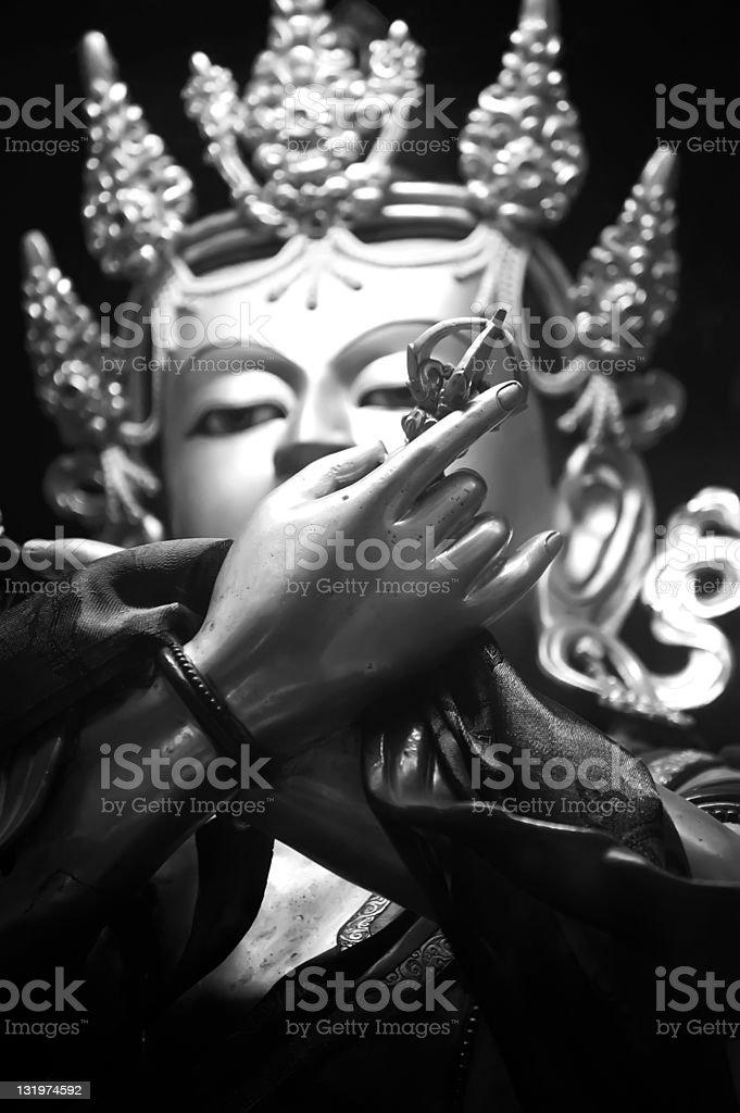 Golden Buddha sculpture in Tibetan Monastery royalty-free stock photo