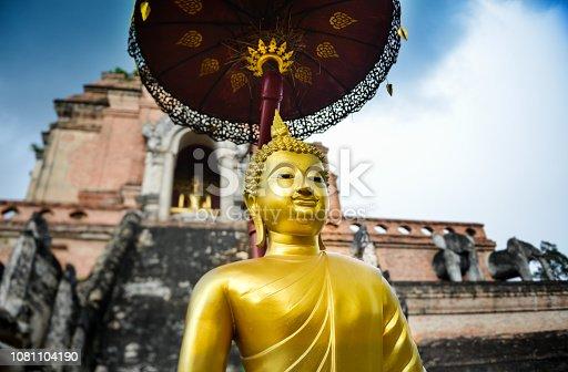 istock Golden Buddha statue in Thailand. 1081104190