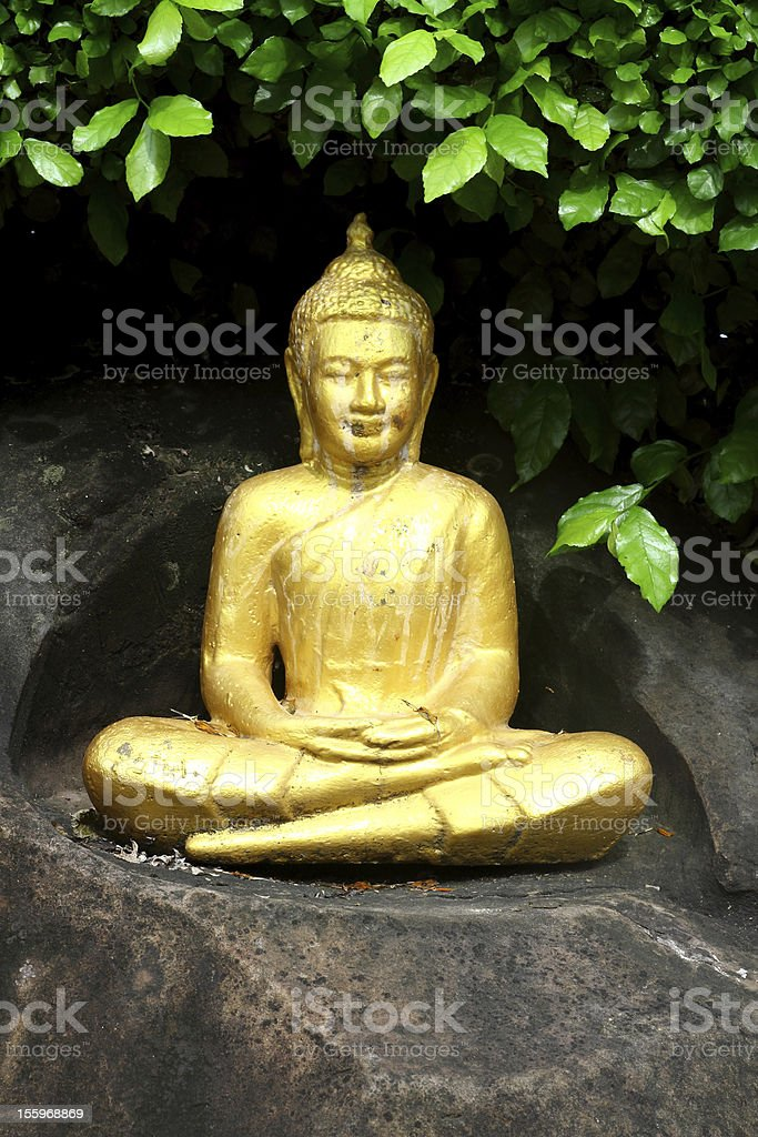 golden Buddha statue in the garden royalty-free stock photo