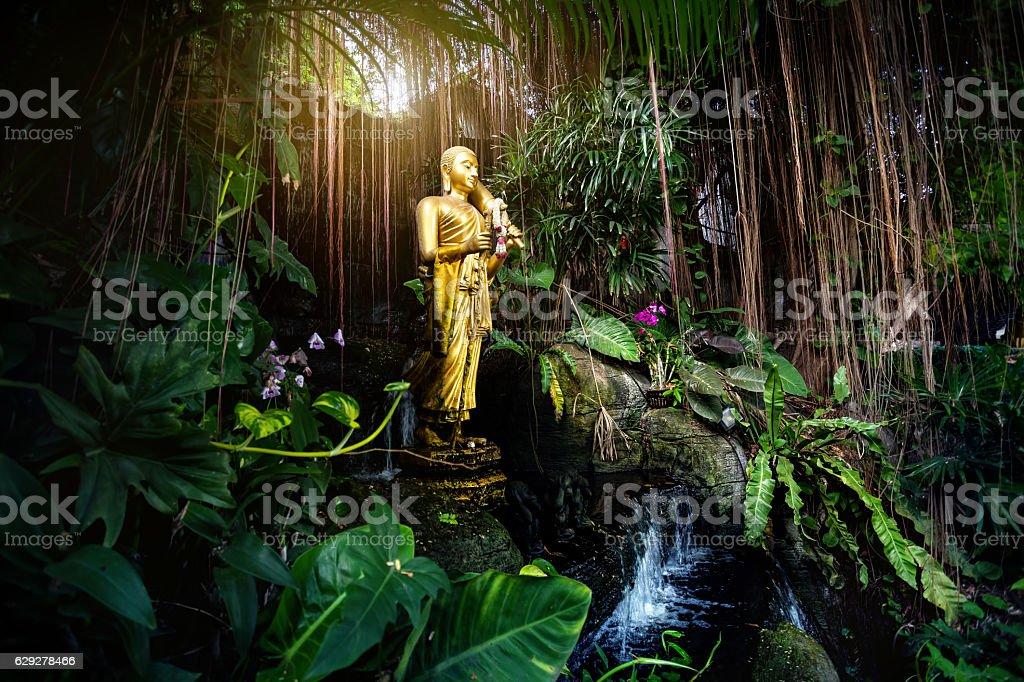 Golden Buddha statue in the garden stock photo
