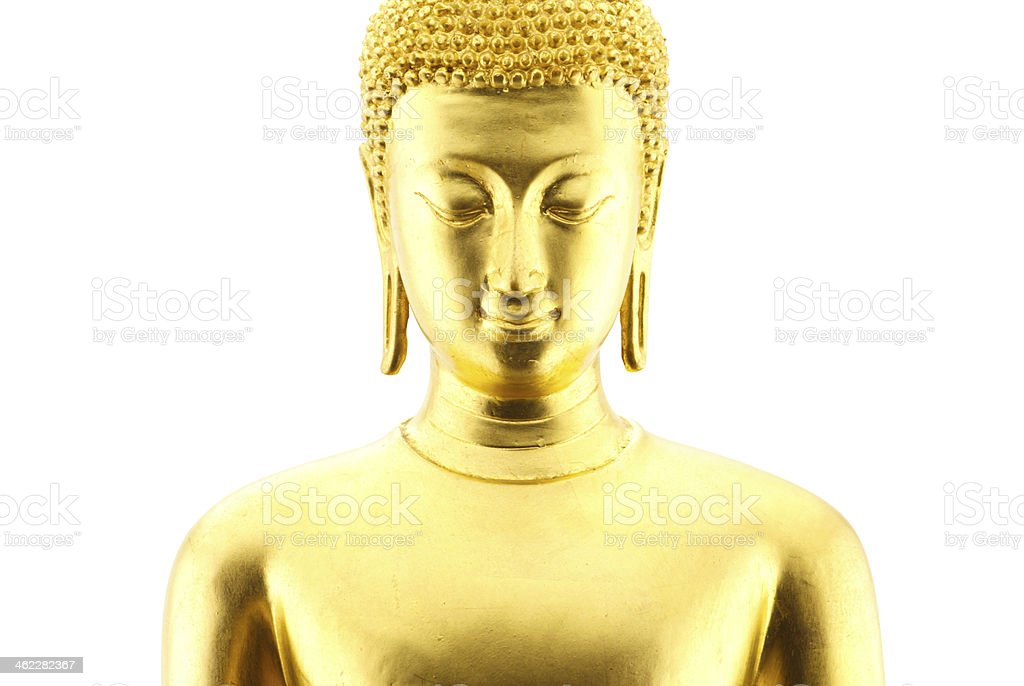 Golden buddha statue isolated on white background royalty-free stock photo