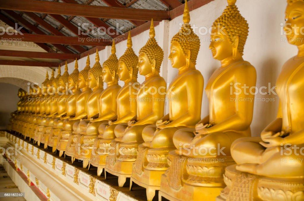 와트 산 티 Wanaram 치앙칸, 태국으로이 지방에서 행에 황금 불상 royalty-free 스톡 사진
