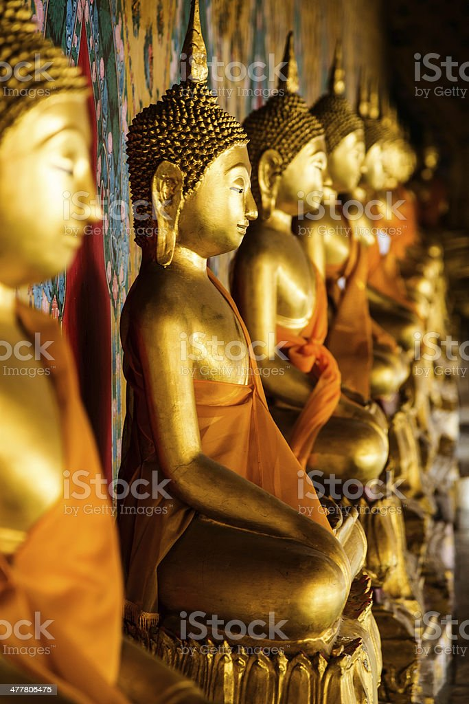 Golden Buddha Statues, Wat Arun, Bangkok, Thailand royalty-free stock photo