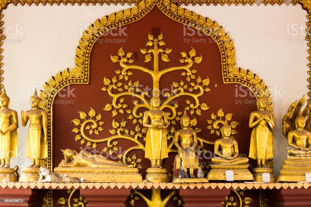 Golden Buddha Statues, Wat Khunaram Temple, Koh Samui, Thailand royalty-free stock photo