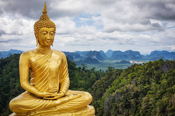 golden buddha - tiger cave temple / thailand - buddha stockfoto's en -beelden