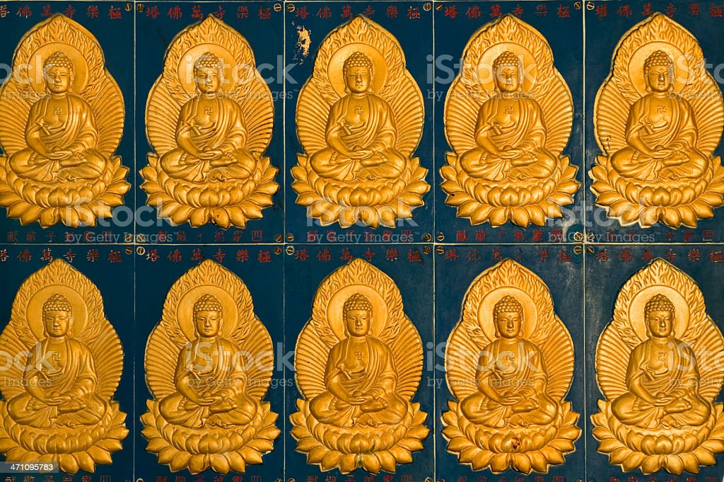 golden buddha tile temple royalty-free stock photo