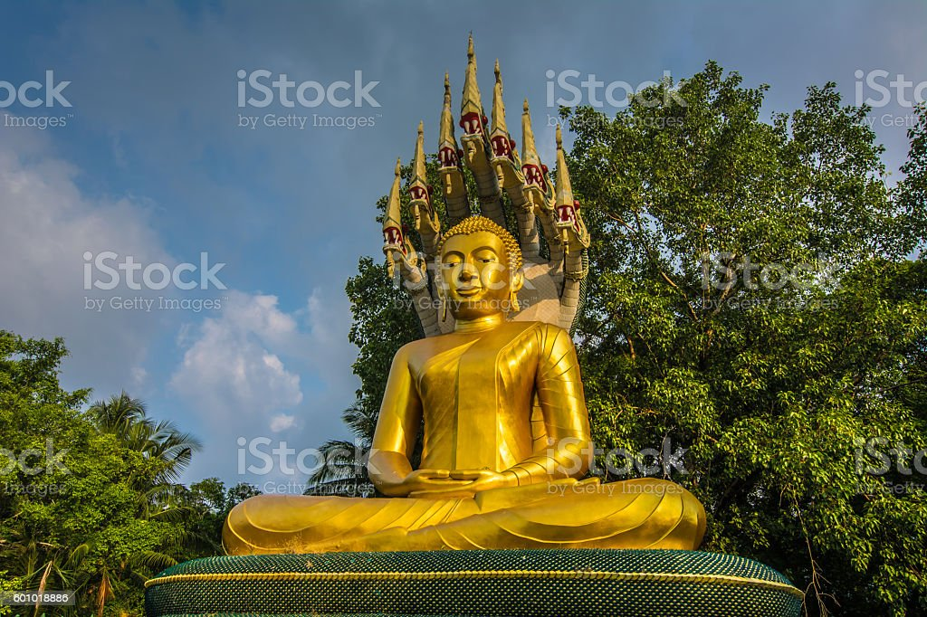 Golden  Buddha, Wat ChakYai ,Chanthaburi ,Thailand. stock photo