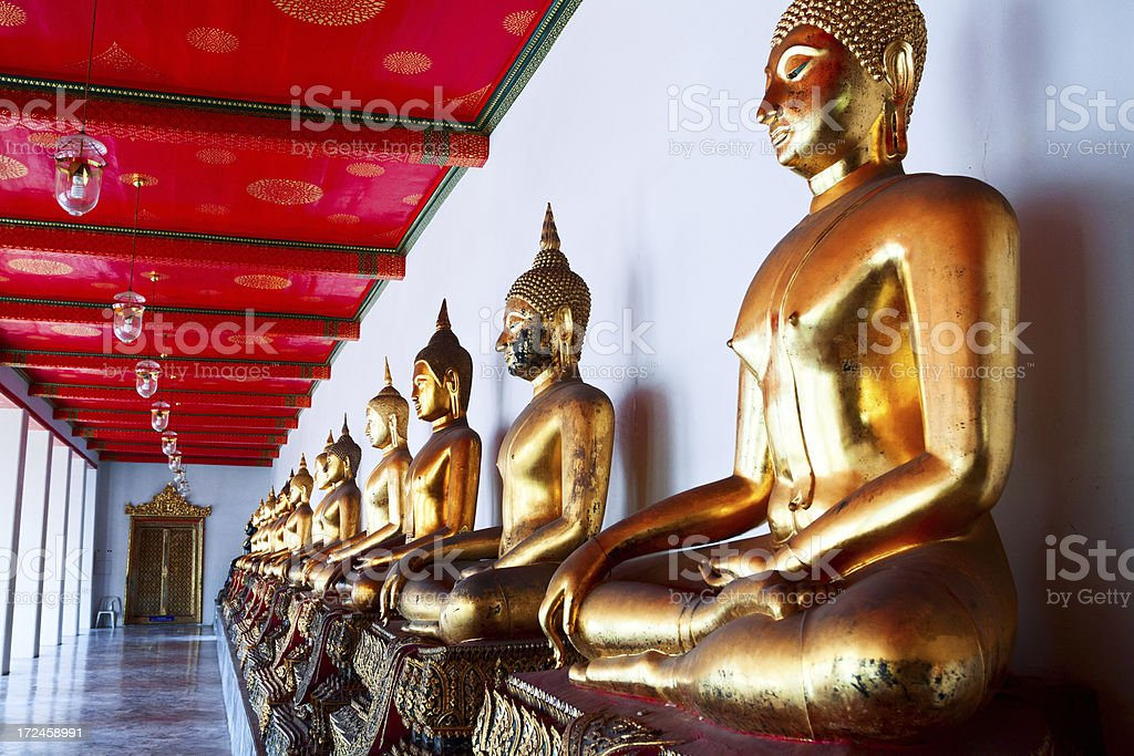 Golden Buddhas in Wat Pho royalty-free stock photo