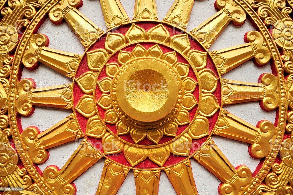 Golden Buddhism Symbol Wheel of Life royalty-free stock photo