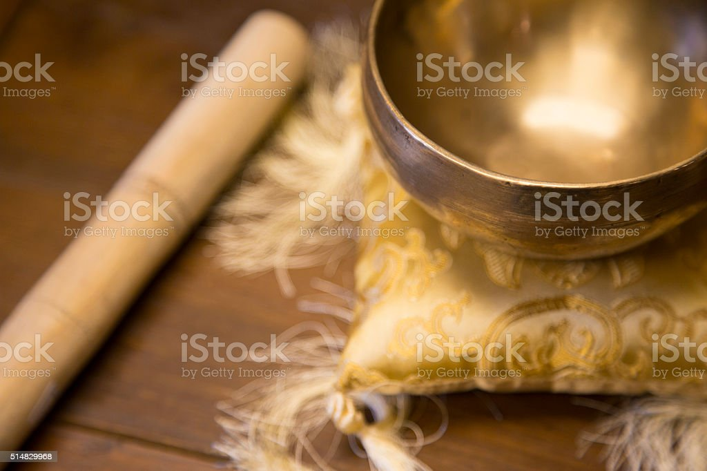 Golden Buddhist Dharma Bowl stock photo