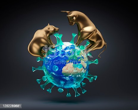 Golden Bull and Bear standing on a Corona Earth with dark Background