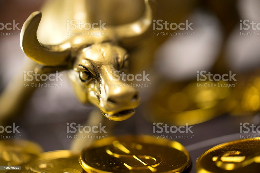 Golden bull stock photo