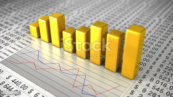 istock Golden Business Charts 535566951
