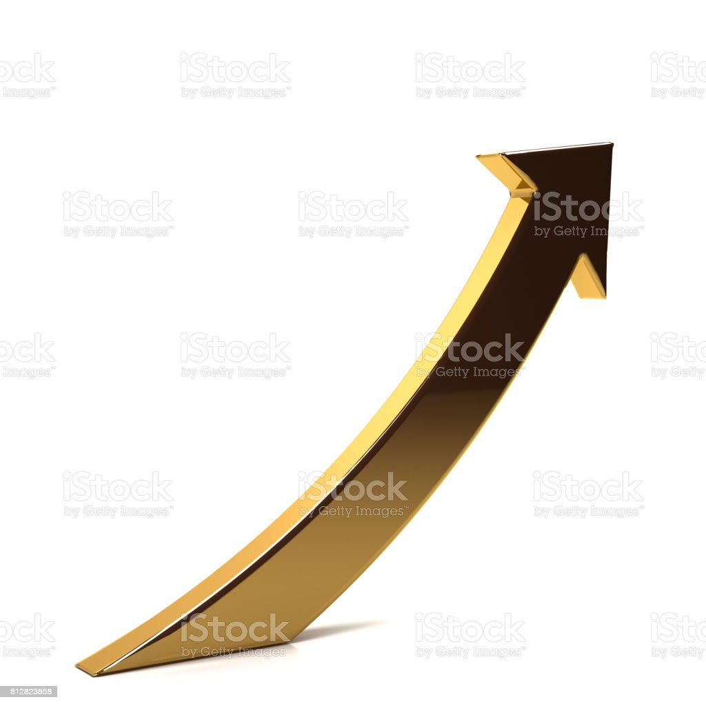 Golden Business Index Arrow Up. 3D Render Illustration stock photo