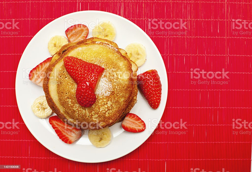 golden buttermilk pancakes on red royalty-free stock photo