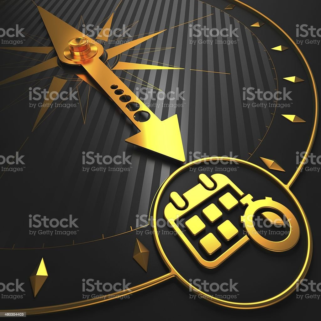 Golden Calendar with Stopwatch on Black Compass. stock photo