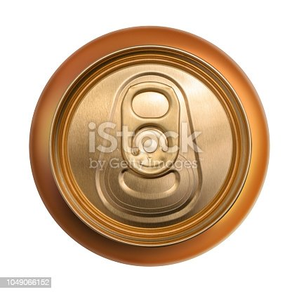 istock Golden can top view isolated on white background 1049066152
