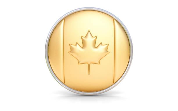 goldene kanadische flagge - kanada rundreise stock-fotos und bilder