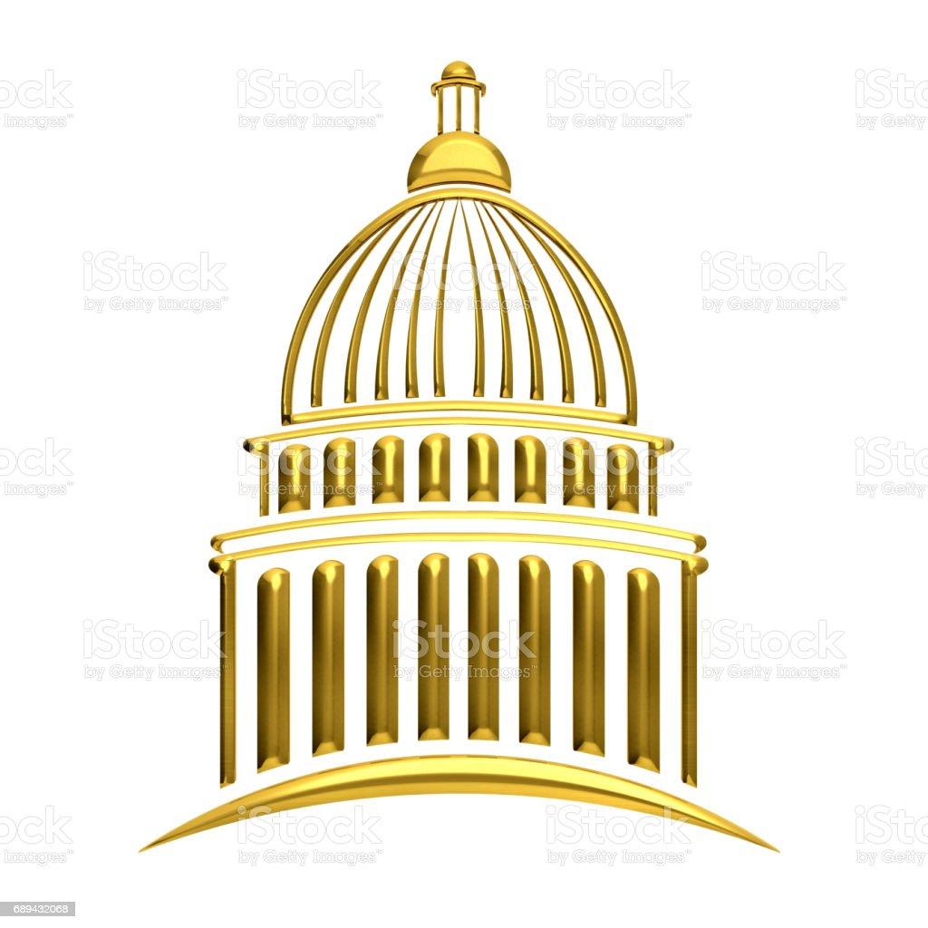 Golden Capitol Building 3D Rendering Illustration stock photo
