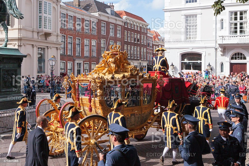 Golden Carriage arriving at Noordeinde Palace in The Hague stock photo